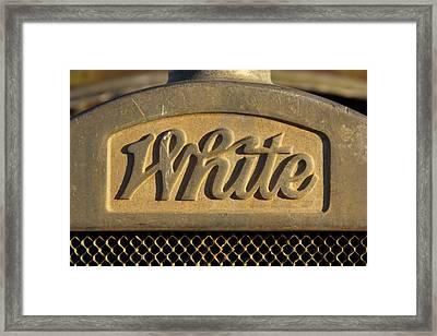 White Truck Emblem  Framed Print by Mike McGlothlen
