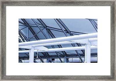 White Tube Blue Tube Framed Print