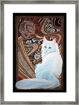 Framed Print featuring the painting White Turkish Angora by Leena Pekkalainen