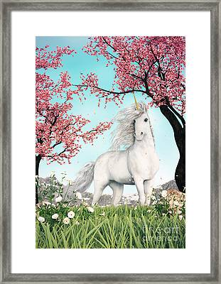 White Unicorn Amongst Cherry Trees Framed Print