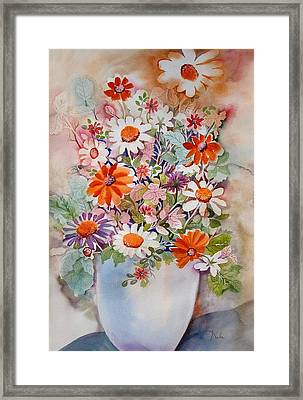 White Vase With Daisies Framed Print by Neela Pushparaj