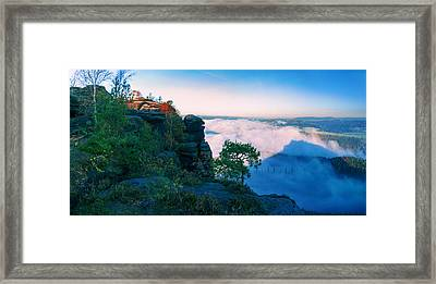 White Wafts Of Mist Around The Lilienstein Framed Print