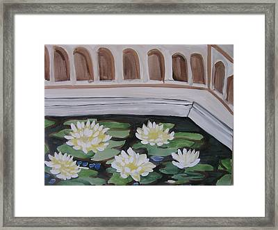 Framed Print featuring the painting White Water Lilies by Vikram Singh