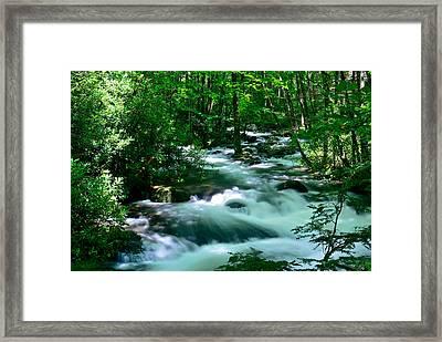 White Water On Little River Framed Print