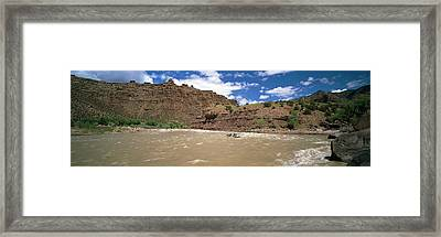 White Water Rafting In Green River Framed Print by Panoramic Images