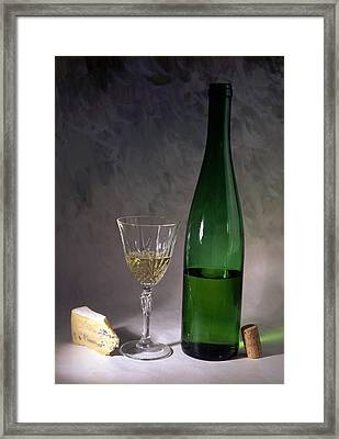White Wine And Cheese Framed Print by IB Photo
