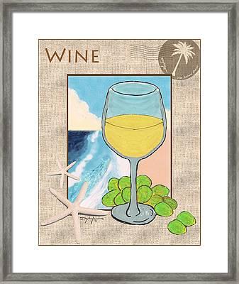White Wine Beachside Framed Print by William Depaula