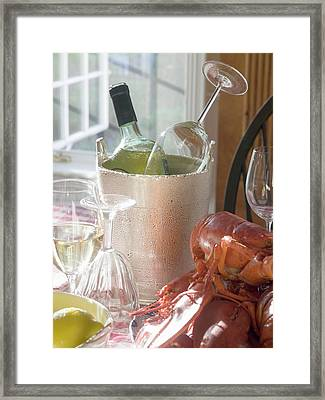 White Wine Bottle In Ice Bucket, Wine Glasses, Lobster, Lemon Framed Print