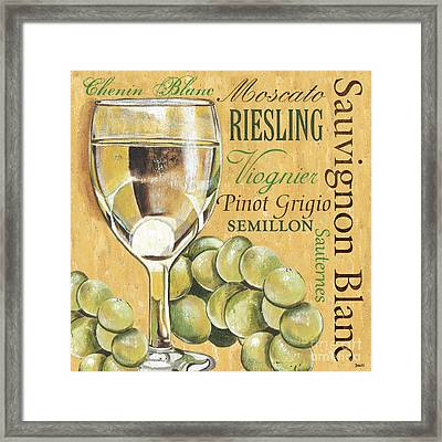 White Wine Text Framed Print by Debbie DeWitt