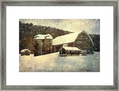 White Winter Barn Framed Print by Christina Rollo