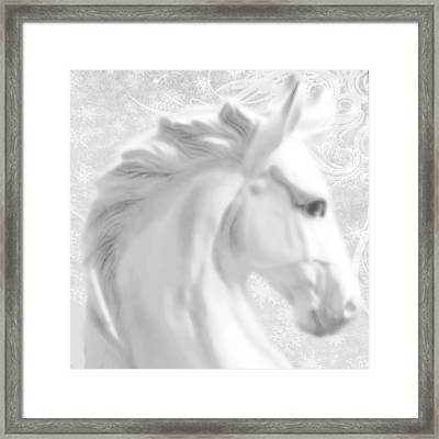 White Winter Horse 1 Framed Print by Tony Rubino