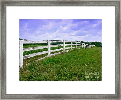White Wood Fence Framed Print by Olivier Le Queinec