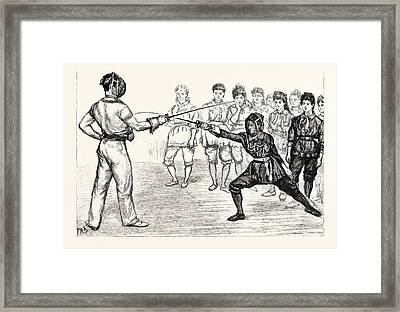 Whitechapel Way A Fencing Class At The Peoples Palace Framed Print by English School