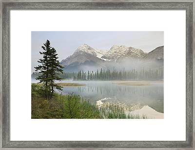 Whitegoat Lake And Mount Elliot Framed Print by Darwin Wiggett