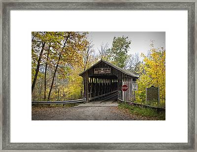 Whites Covered Bridge On The Flat River Near Lowell Michigan No. 0338 Framed Print