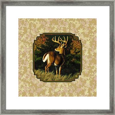 Whitetail Buck Autumn Leaves Pillow Framed Print