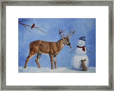 Whitetail Deer And Snowman - Whose Carrot? Framed Print by Crista Forest