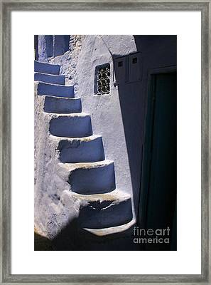 Whitewashed Steps In The Medina Of Asilah On Northwest Tip Of Atlantic Coast Of Morocco Framed Print