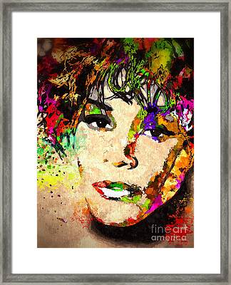 Whitney Houston Framed Print by Daniel Janda