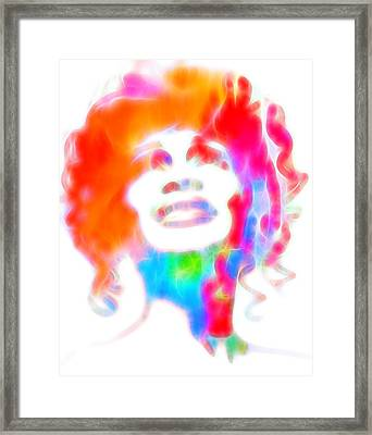 Whitney Houston Glowing Framed Print by Dan Sproul