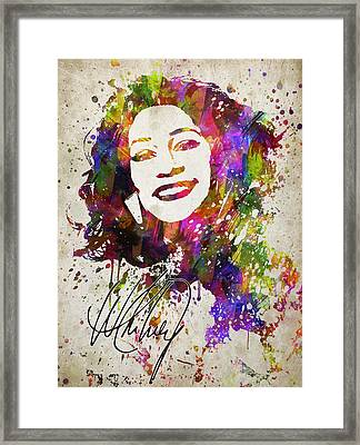 Whitney Houston In Color Framed Print by Aged Pixel