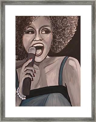 Whitney Houston Framed Print by Kate Fortin