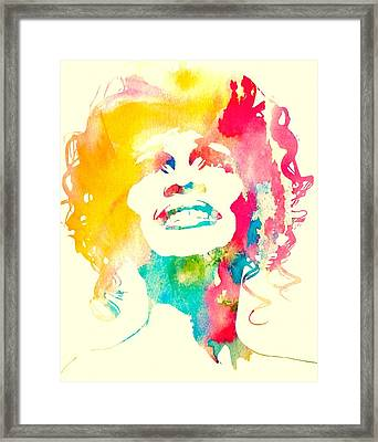 Whitney Houston Watercolor Canvas Framed Print by Dan Sproul