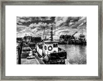 Whitstable Harbour Mono Framed Print by Ian Hufton