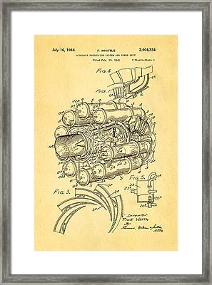 Whittle Jet Engine Patent Art 1946 Framed Print by Ian Monk