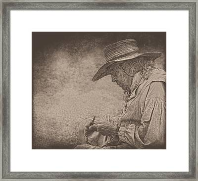 Whittling Framed Print by Pat Abbott