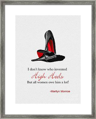Who Invented High Heels? Framed Print by Rebecca Jenkins