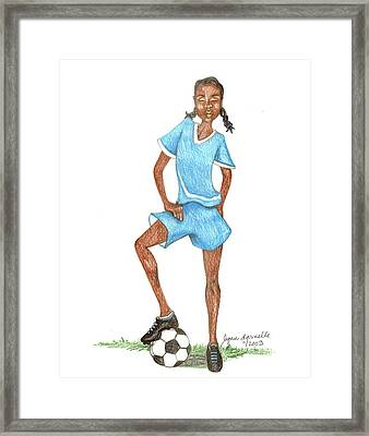 Who Says Black Girls Don't Play Soccer Framed Print by Lynn Darnelle