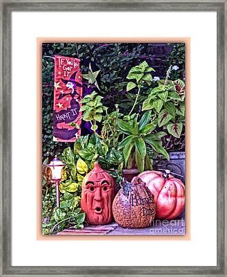 Who Scared Pumpkin Head? Halloween Display Framed Print
