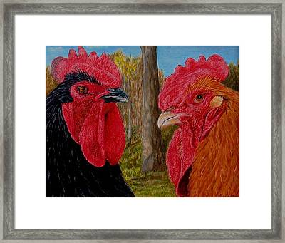 Framed Print featuring the painting Who You Calling Chicken by Karen Ilari
