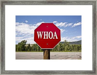 Whoa Stop Sign Framed Print