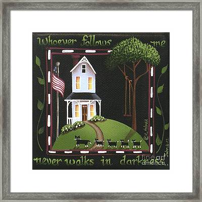 Whoever Follows Me... Framed Print by Catherine Holman