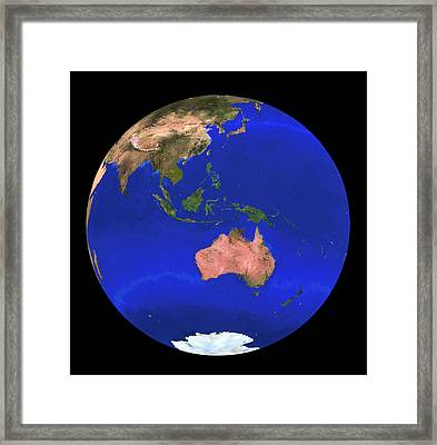 Whole Earth Noaa Satellite Mosaic (1km Resolution) Framed Print by Copyright 1995, Worldsat International And J. Knighton/science Photo Library