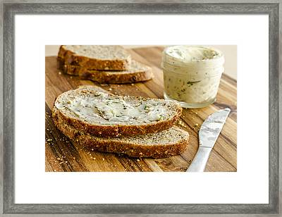 Whole Grain Bread And Herb Butter Framed Print by Teri Virbickis