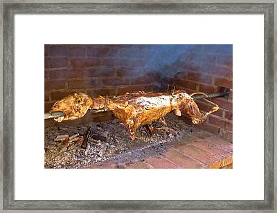 Whole Lamb On Spit Meat Food Framed Print by Brch Photography