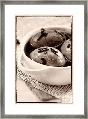 Whole Smoked Eggs Sepia Framed Print