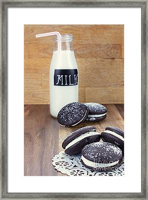 Whoopie Pies Or Moon Pies And Milk Framed Print by Stephanie Frey