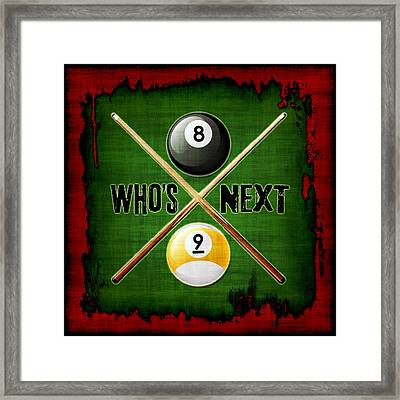 Who's Next Billiards Framed Print by David G Paul