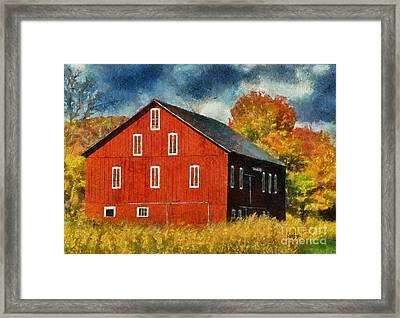 Why Do They Paint Barns Red? Framed Print by Lois Bryan