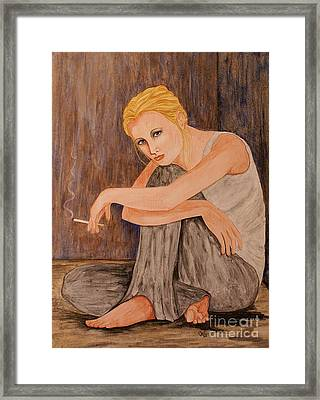 Framed Print featuring the painting Why by Jane Chesnut