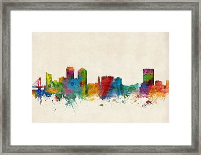 Wichita Kansas Skyline Framed Print by Michael Tompsett