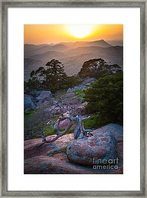Wichita Mountains Sunset Framed Print by Inge Johnsson