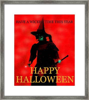 Wicked Time Halloween Card Framed Print by David Lee Thompson