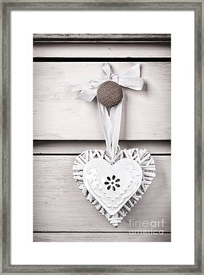 Wicker And Tin Heart Framed Print by Jane Rix