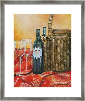 Wicker And Wine Framed Print by Cynthia Parsons