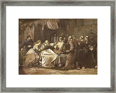 Wicliffe On His Death Bed Assailed Framed Print